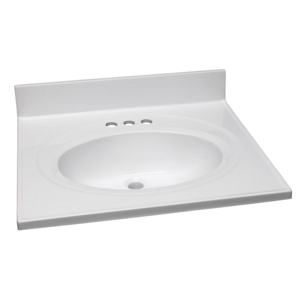 Design House 25 in. W Cultured Marble Vanity Top in White with Solid White Bowl