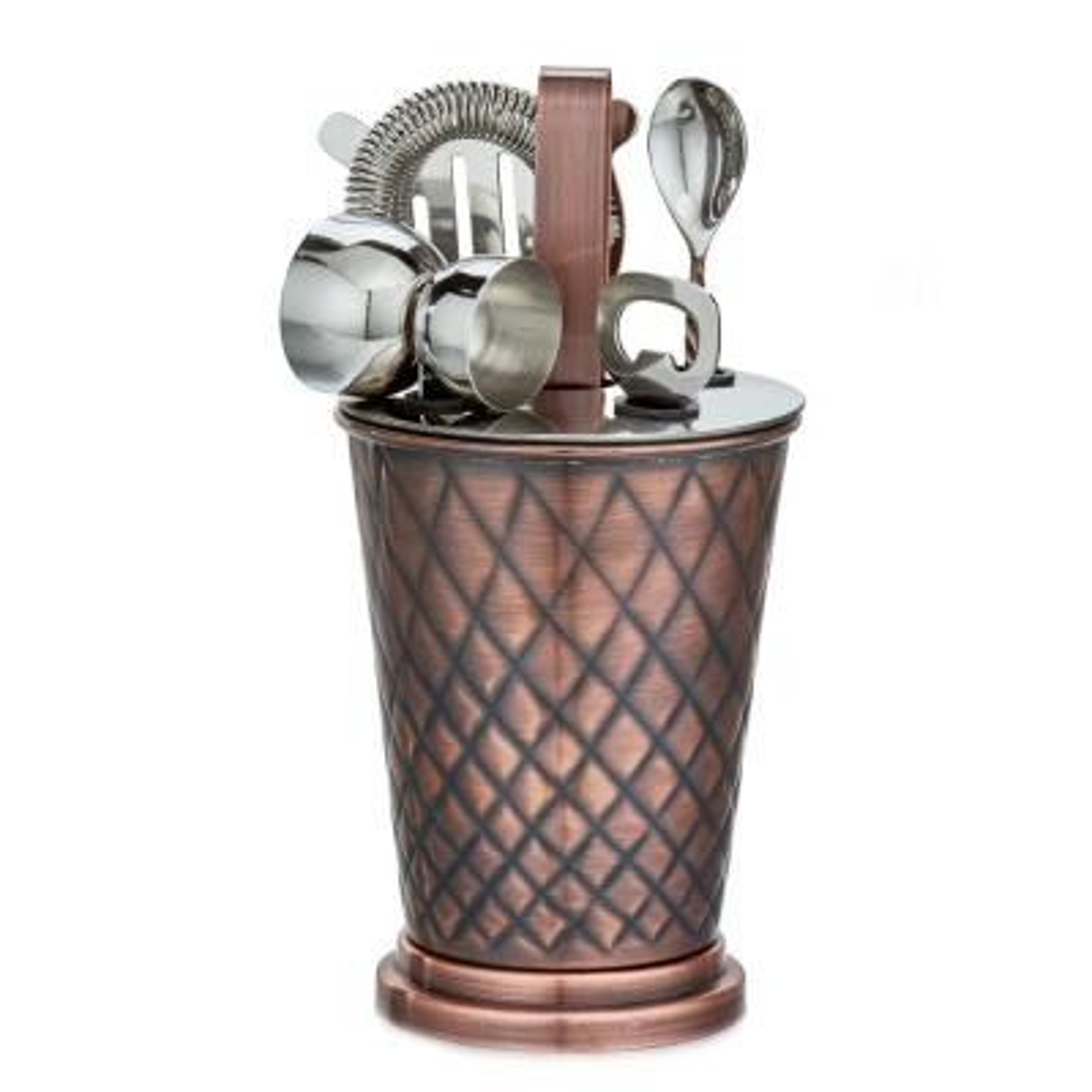 6-Piece Antique Copper Embossed Diamond Bar Set