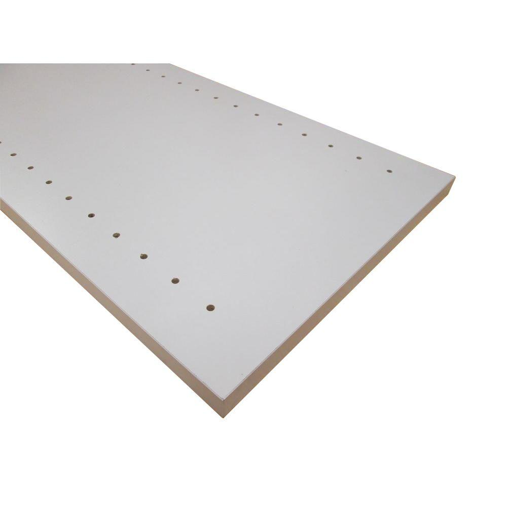 null 3/4 in. x 16 in. x 97 in. White Thermally-Fused Melamine Adjustable Side Panel