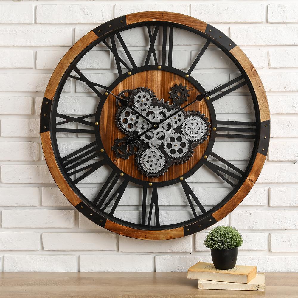 26.77 in. D Industrial Wooden/Metal Round Gear Wall Clock