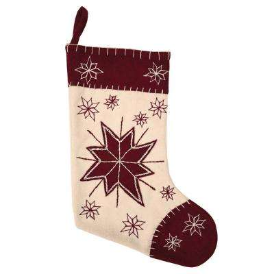15 in. North Star Creme White Farmhouse Christmas Decor Stocking