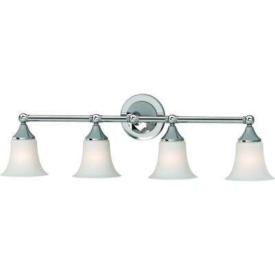 4-Light Indoor Chrome Bath or Vanity Light Wall Mount or Wall Sconce with Etched White Cased Glass Bell Shades