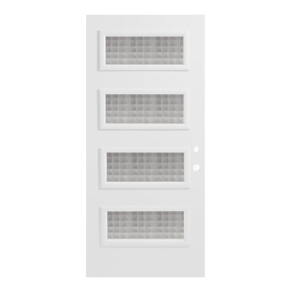 Stanley Doors 36 in. x 80 in. Lorraine Carre 4 Lite Painted White Left-Hand Inswing Steel Prehung Front Door