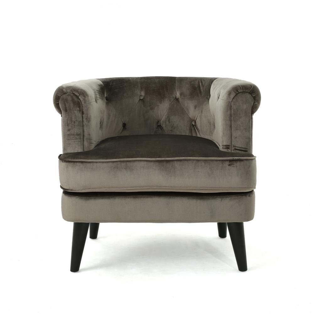 Noble house miguel mid century modern tufted gray new velvet club chair