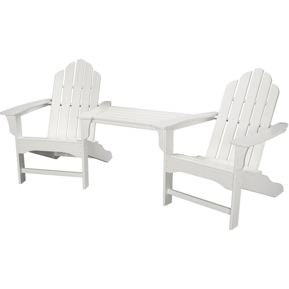Rio White 3-Piece All-Weather Plastic Patio Lounge Adirondack Chair Set