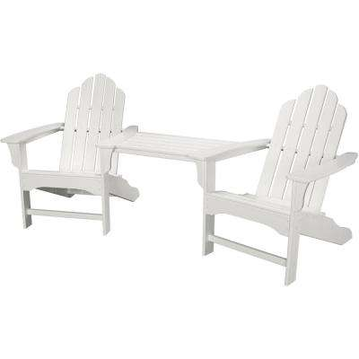Rio White 3 Piece All Weather Plastic Patio Lounge Adirondack Chair Set