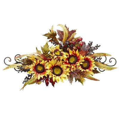 12 in. H Yellow Sunflower Swag with Metal Frame