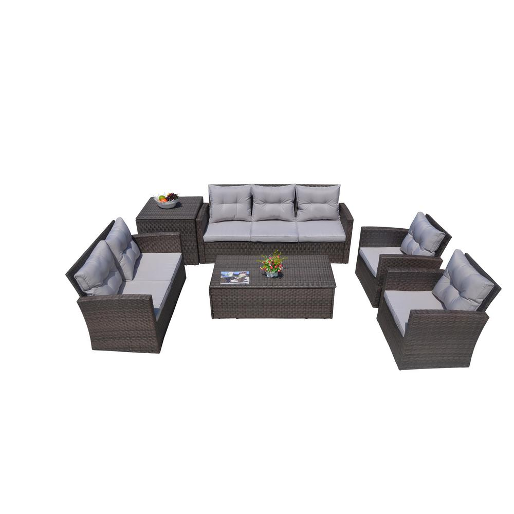 Martinka 6-Piece Patio Brown Wicker Outdoor Sectional Sofa Set with Grey
