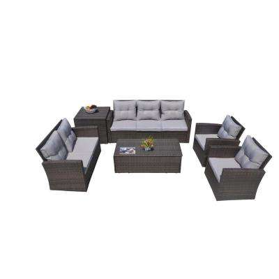 Martinka 6-Piece Patio Brown Wicker Outdoor Sectional Sofa Set with Grey  Cushion - Waterproof - Outdoor Lounge Furniture - Patio Furniture - The Home Depot