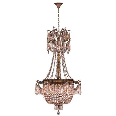 Winchester 4-Light Antique Bronze and Golden Teak Crystal Chandelier