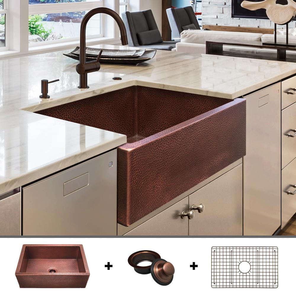 Fossil Blu Luxury 30 in. Heavy 12-Gauge Copper Farmhouse Kitchen Sink, Flat  Front, Single Bowl, Includes Grid and Flange