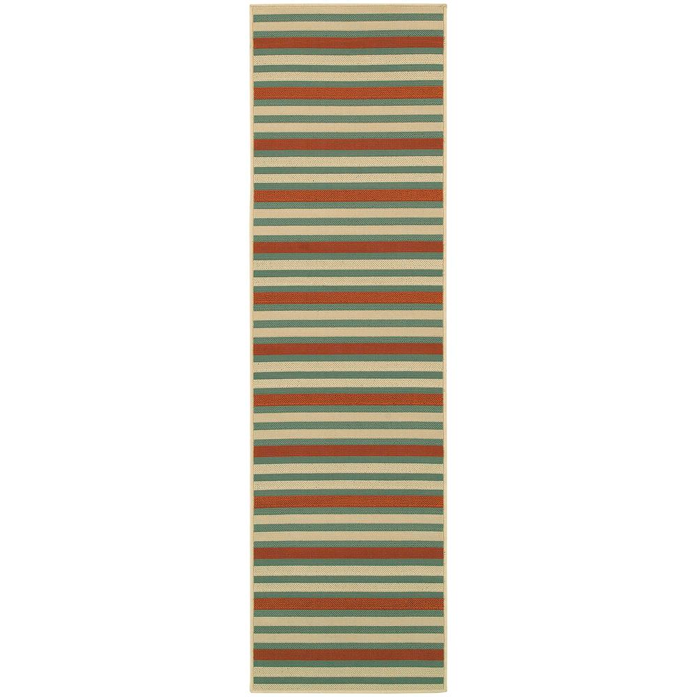 Home Decorators Collection Candy Stripe Orange/Teal 2 ft. 3 in. x 7 ...