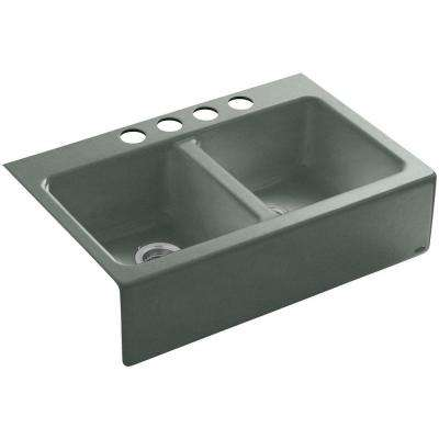 Hawthorne Undermount Farmhouse Apron-Front Cast Iron 33 in. 4-Hole Double Bowl Kitchen Sink in Basalt