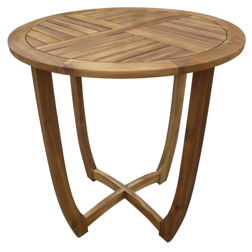Carina Teak Brown Round Wood Outdoor Accent Table