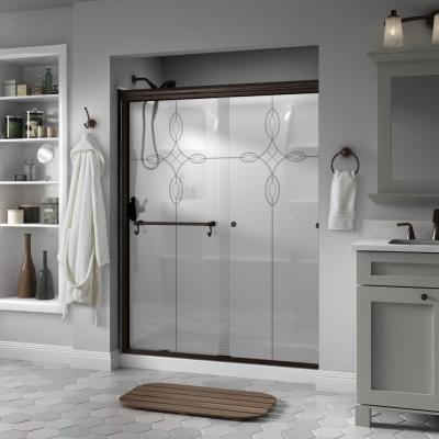 Portman 60 in. x 70 in. Semi-Frameless Traditional Sliding Shower Door in Bronze with Tranquility Glass