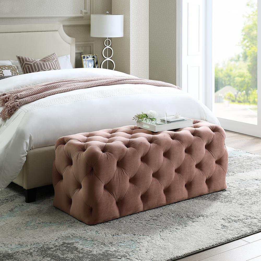 Norman Blush Velvet Tufted Allover Upholstered Bench