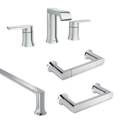 Genta 8 in. Widespread 2-Handle Bathroom Faucet with 3-Piece Bath Hardware Set in Chrome