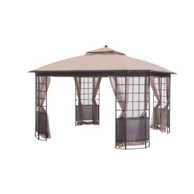 Bay Window 12 ft. x 12 ft. Brown Steel Gazebo