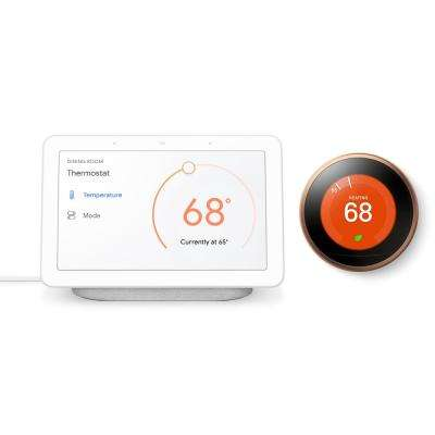 Nest Hub Chalk + Nest Learning Thermostat 3rd Gen in Copper