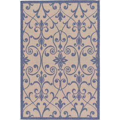 """Outdoor Botanical Beige and Blue 5'3"""" x 8' Rug"""