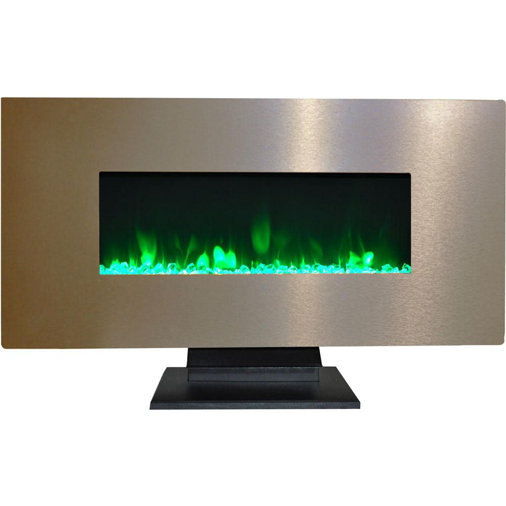 42 in. Metallic Electric Fireplace in Bronze with Multi-Color Crystal Rock
