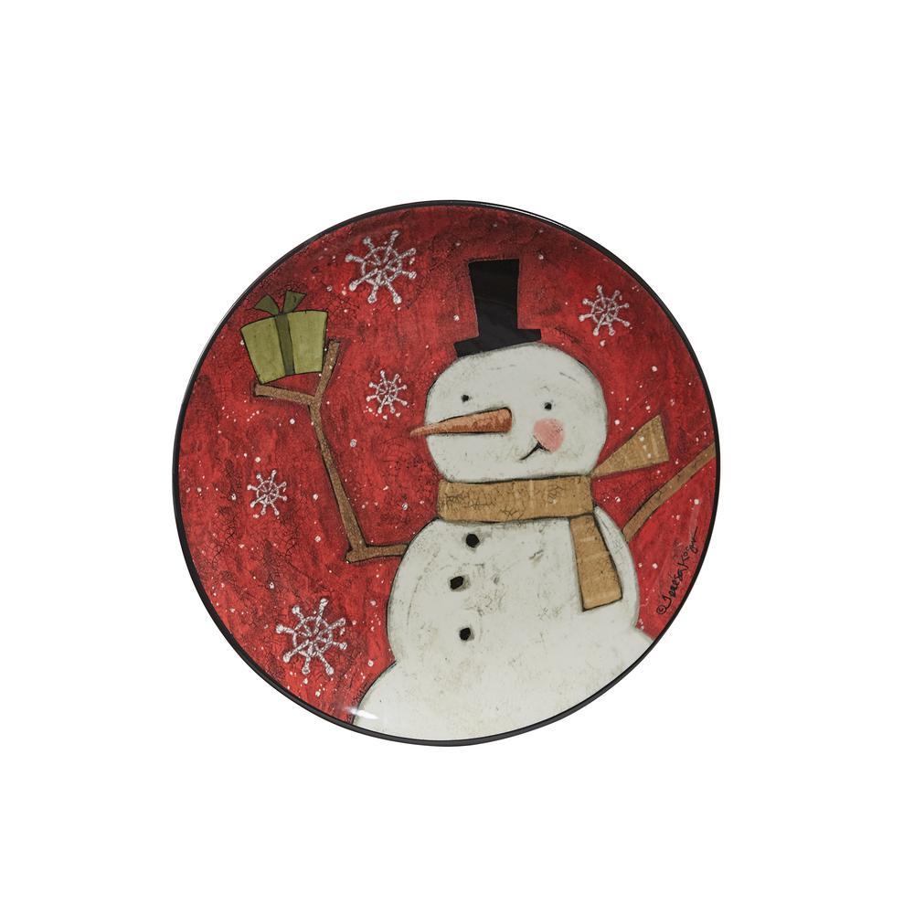 Snow Friends Snowman Multicolor Salad Plate (Set of 4)