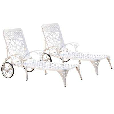 Biscayne White Patio Chaise Lounge (Set of 2)