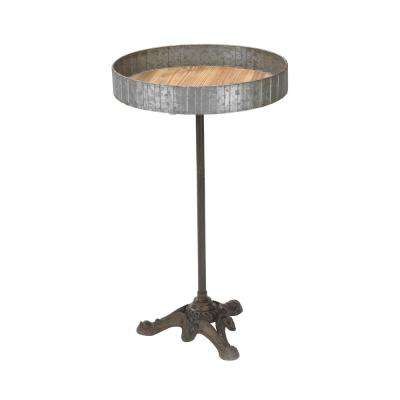 Raw Metal Color And Naturally Wood Finish Accent Table
