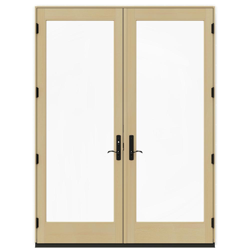 Jeld wen 72 in x 96 in w 4500 white clad wood right hand for Screen for french doors inswing