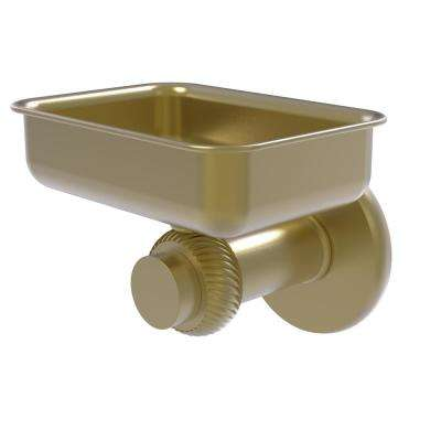 Mercury Collection Wall Mounted Soap Dish with Twisted Accents in Satin Brass