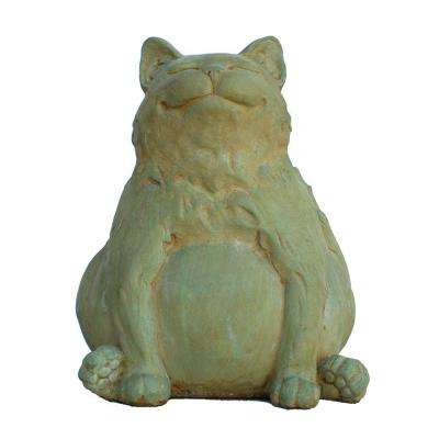Cast Stone Happy Fat Cat Garden Statue, Weathered Bronze