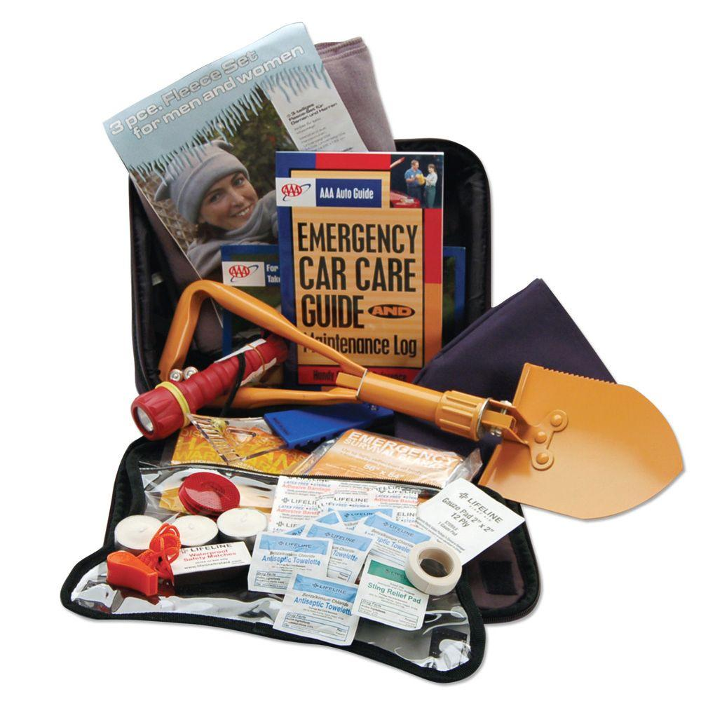 AAA Emergency Winter Roadside Safety and First Aid Kit 65-Piece