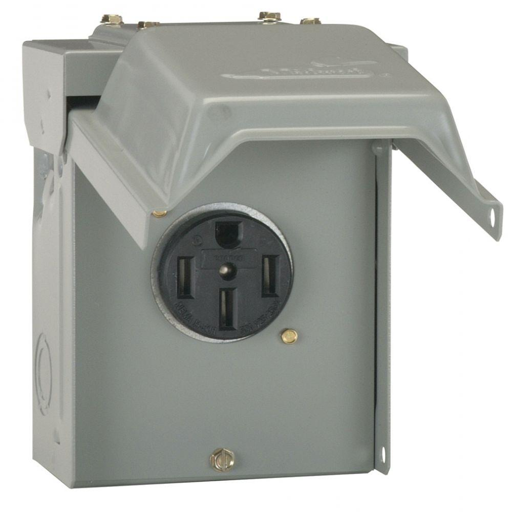 Ge 50 Amp Temporary Rv Power Outlet U054p The Home Depot How To Wire Breaker Box