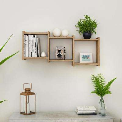 Bauhaus Weathered Oak MDF Wood 3-Cube Floating Wall Shelf