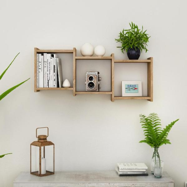DANYA B Bauhaus Weathered Oak MDF Wood 3-Cube Floating Wall Shelf