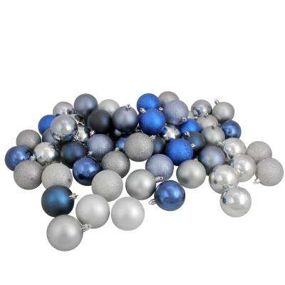 2.5 in. Sapphire Blue/Denim/Silver/Pewter Shatterproof 3-Finish Christmas Ball Ornaments (60-Count)