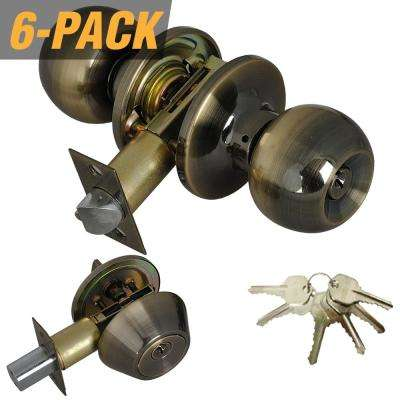 Antique Brass Entry Door Knob Combo Lock Set with Deadbolt and 36 Keys Total, (6-Pack, Keyed Alike)