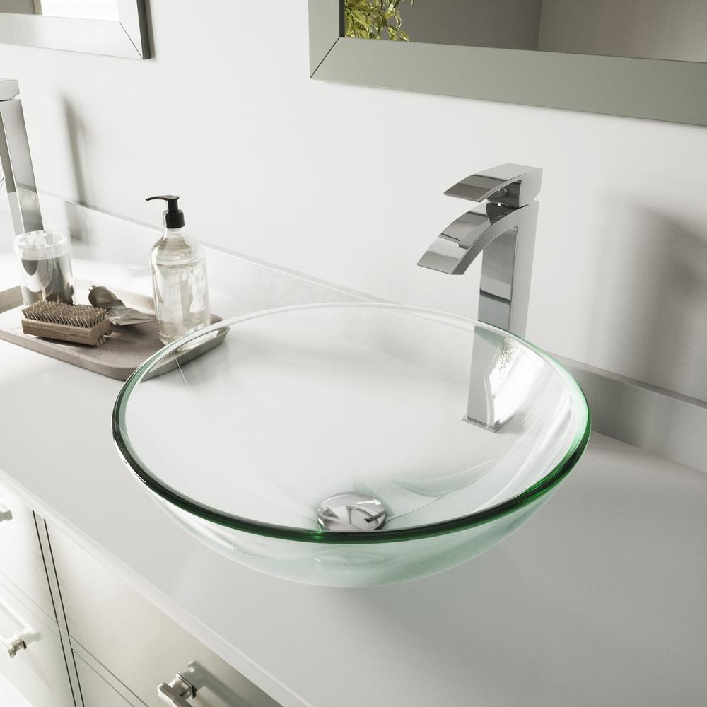 VIGO Glass Vessel Bathroom Sink in Clear Crystalline and Duris Vessel Faucet Set in Chrome