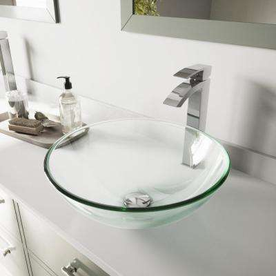 Glass Vessel Bathroom Sink in Clear Crystalline and Duris Vessel Faucet Set in Chrome