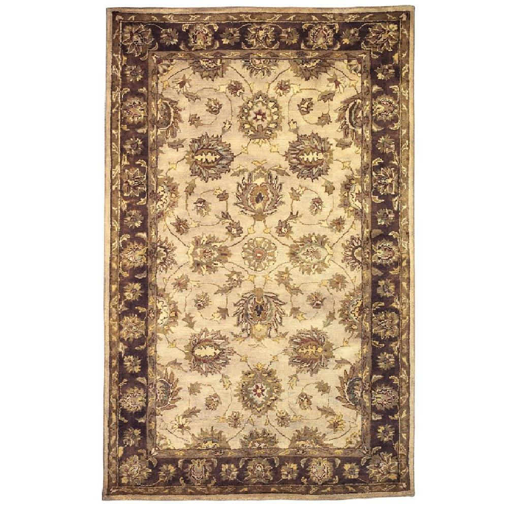Linon home decor rosedown collection pale gold and for Home accents rug collection