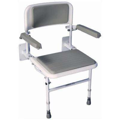 Liberty 24-1/2 in. W x 21-1/2 in. D Padded Shower Seat with Back Rest and Arms in Gray and White
