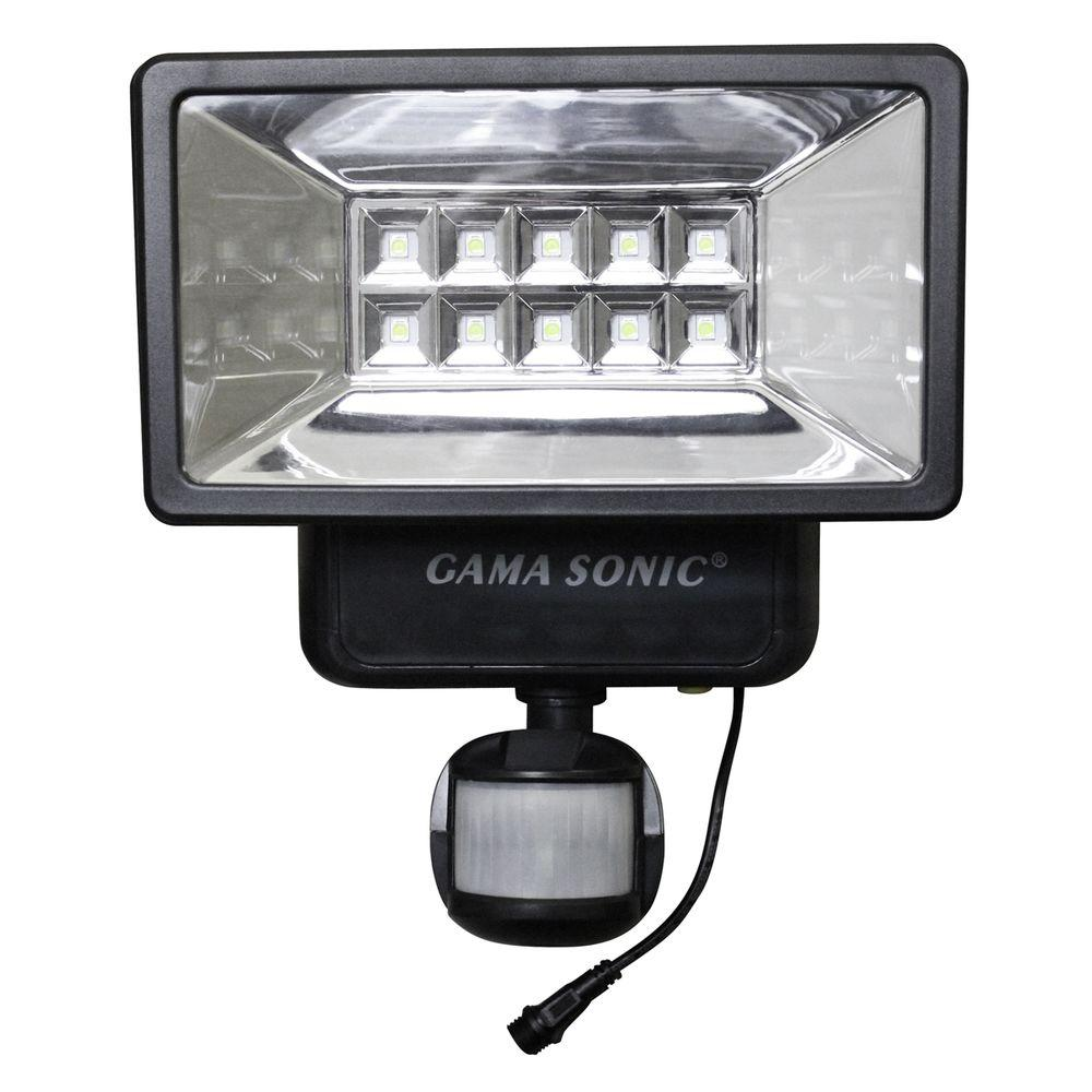 gama sonic 160 black outdoor solar powered security light. Black Bedroom Furniture Sets. Home Design Ideas