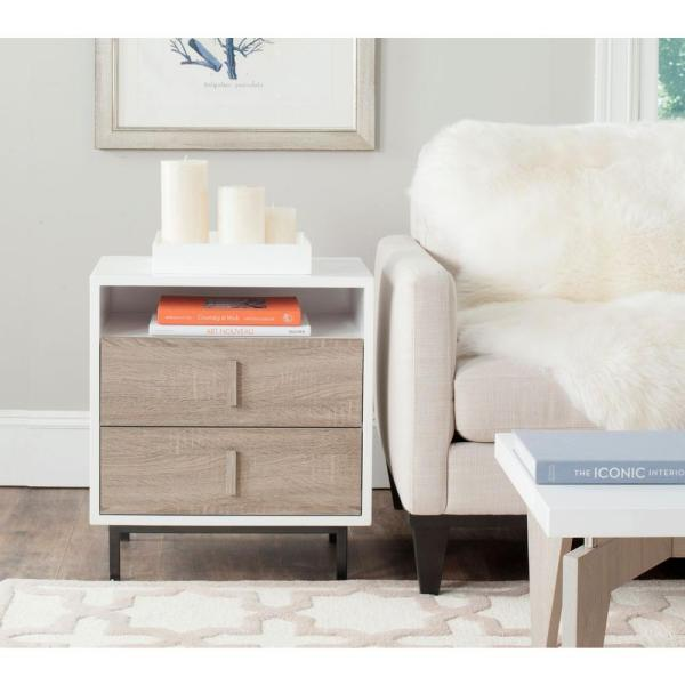 Safavieh Kefton White, Oak and Black Storage End Table FOX4219A