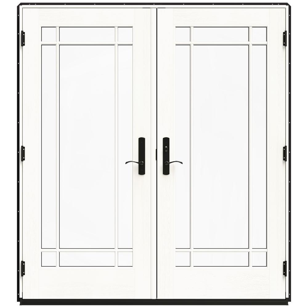 Jeld wen 72 in x 80 in w 4500 black clad wood left hand for 14 x 80 interior door
