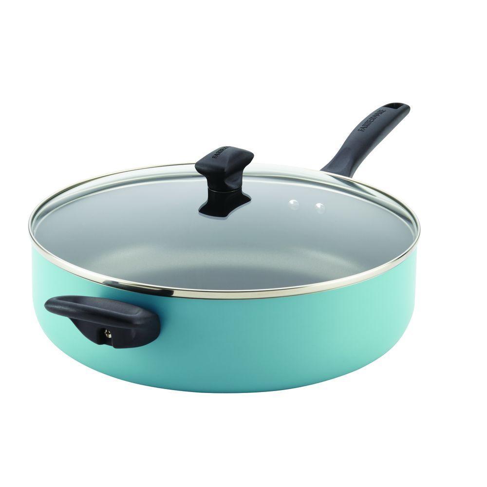 Dishwasher Safe 6 qt. Aluminum Nonstick Saute Pan in Aqua with Glass Lid