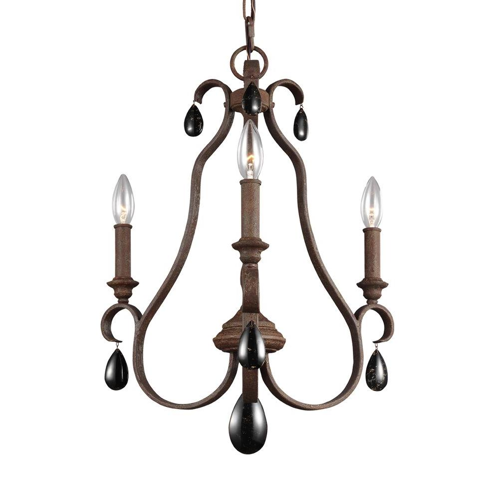 Black chandeliers lighting the home depot dewitt 3 light weathered iron single tier chandelier shade aloadofball Gallery