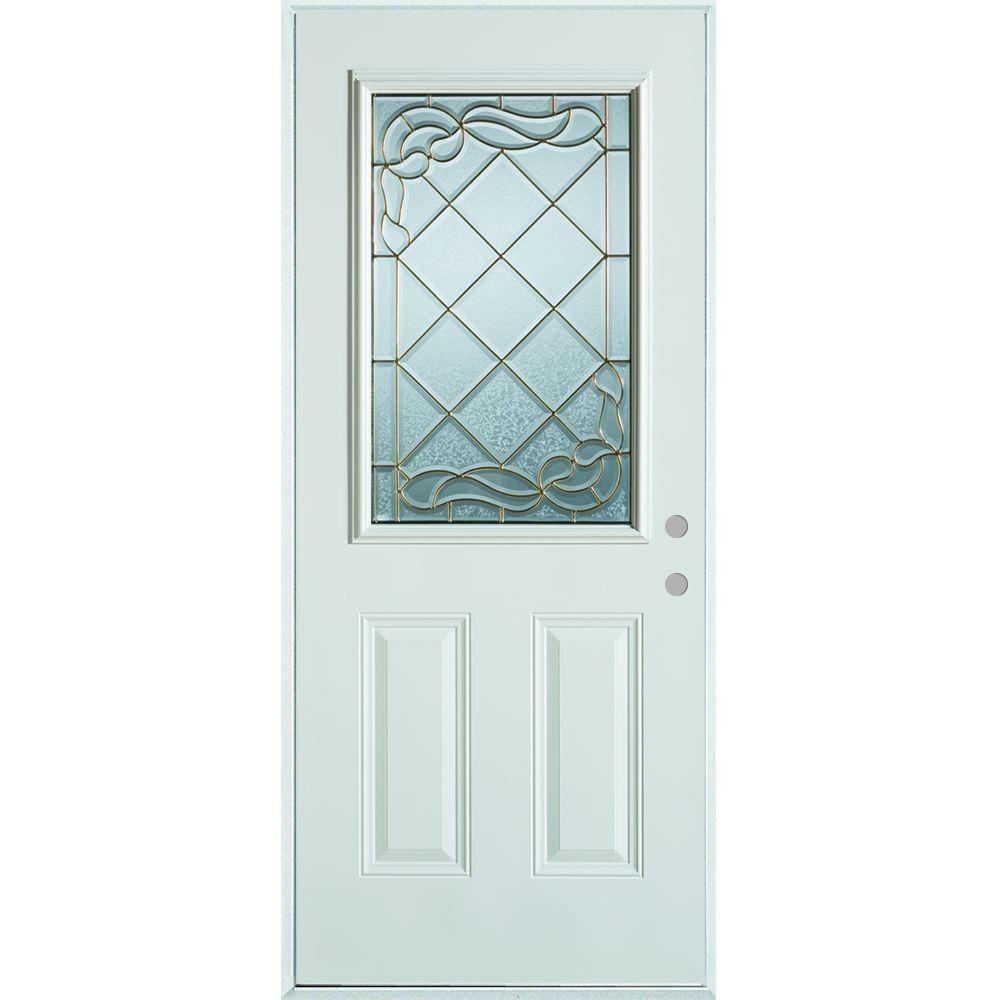 Stanley Doors 36 in. x 80 in. Art Deco 1/2 Lite 2-Panel Painted White Steel Prehung Front Door