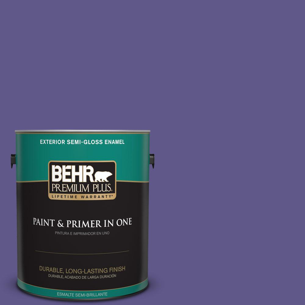 BEHR Premium Plus 1-gal. #S-G-640 Purple Balloon Semi-Gloss Enamel Exterior Paint