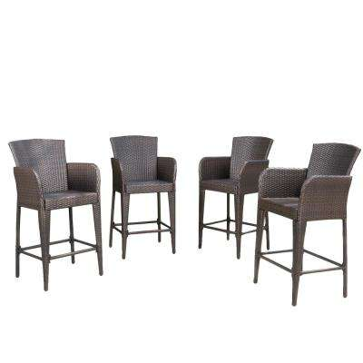 Yadiel Multi-Brown Wicker Outdoor Bar Stool (4-Pack)