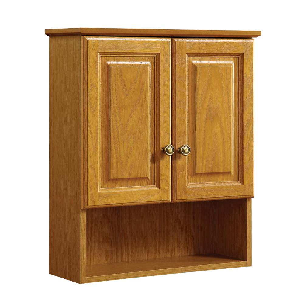 Design house claremont 21 in w x 26 in h x 8 in d bathroom storage wall cabinet in honey oak - Designs for bathroom cabinets ...